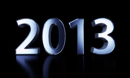 Blue metal number 2013. 3D number 2013 isolated on black background with clipping path Stock Photo