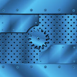 Blue metal plate and gears Stock Photography