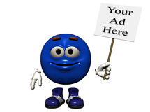 Blue Metal Sign. A smiling bright blue metal emoticon holding a sign just right for your ad.  Computer Generated Image, 3D models Royalty Free Stock Photos