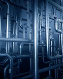 Blue metal steel pipe background Stock Photography