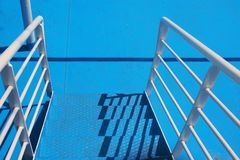 Blue Metal Steps, Greek Ferry Royalty Free Stock Images