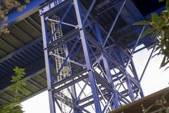 Blue metal structure royalty free stock photography