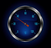 Blue metal thermometer Stock Image