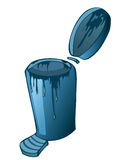 Blue Metal Waste Recycle Can. Royalty Free Stock Images