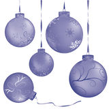 Blue metalic christmas balls Stock Images