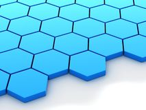 Blue metallic background with hexagons and place Stock Photography