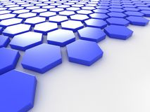 Blue metallic background with hexagons and place Royalty Free Stock Images