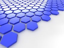 Blue metallic background with hexagons and place Stock Photo
