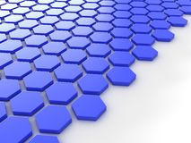 Blue metallic background with hexagons and place Stock Image