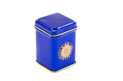 Blue metallic box for tea isolated on white Royalty Free Stock Image