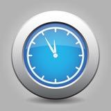 Blue metallic button, white last minute clock icon. Blue metallic button with shadow. White last minute clock icon vector illustration