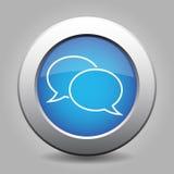 Blue metallic button, white speech bubbles icon. Blue metallic button with shadow. White speech bubbles icon Stock Photos