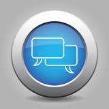 Blue metallic button - white speech bubbles icon. Blue metallic button with shadow, white speech bubbles icon Royalty Free Stock Images