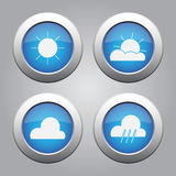 Blue metallic buttons set, weather forecast icons Stock Photography