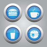 Blue metallic buttons set, white fast food icons Royalty Free Stock Image
