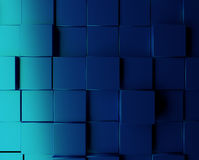 Blue metallic cubes background. Abstract background with metallic blue cubes, 3d rendering Stock Images