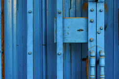 Blue metallic entrance. About 20 years Royalty Free Stock Photo