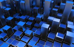 Blue Metallic Growing Bars. Abstract 3D Illustration Royalty Free Stock Photo