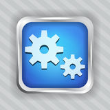 Blue metallic icon with gear Royalty Free Stock Photo