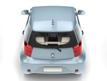 Blue metallic small urban modern electric car - taillight top view Stock Photo