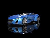 Blue metallic supercar on black Stock Photography