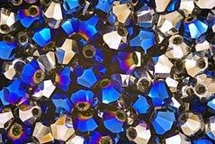 Blue and metallic swarovski crystals Stock Photography