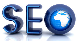 Blue metallic text 'SEO' with earth globe, symbol. 3d illustration Royalty Free Stock Image