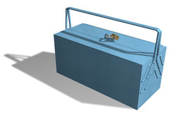 Blue metallic toolbox Royalty Free Stock Images