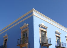 Blue Mexican-Caribbean sunlit colonial building Royalty Free Stock Photography