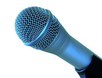 Blue Mic. Closeup of a professional microphone with a blue hue Royalty Free Stock Photo
