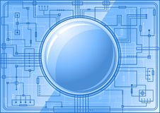 Blue Microchip with button Royalty Free Stock Photos