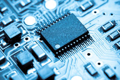 Blue microelectronics Royalty Free Stock Photos