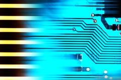 Blue microelectronics computer chip Stock Photos