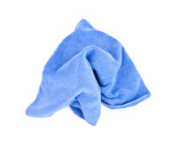 Blue microfiber cloth. Stock Photos