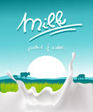 Blue milk design with milk splash, farm animal and sunset - vector royalty free illustration
