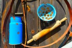 Blue milk jar Royalty Free Stock Photography