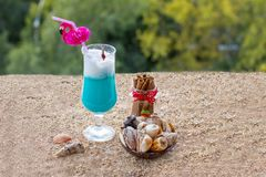 Blue milkshake. royalty free stock images