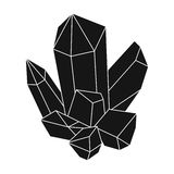 Blue mineral.Crystal, which is a towns produced in the mine.Mine Industry single icon in black style vector symbol stock. Web illustration Royalty Free Stock Image