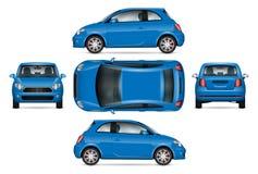 Blue mini car vector illustration. Royalty Free Stock Image