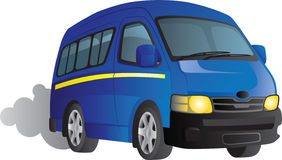 Blue minibus taxi cartoon Stock Photos