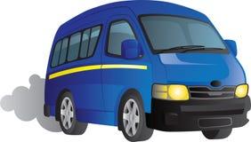 Blue minibus taxi cartoon. Cartoon of a blue minibus taxi driving down the road Stock Photos
