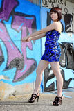 The blue minidress Stock Photography