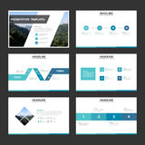 Blue minimal presentation templates Infographic elements flat design set for brochure flyer leaflet marketing advertising. Set Royalty Free Stock Images