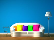 Blue Minimalist Living Room Stock Photos