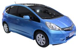 Blue minivan isolated Stock Photos