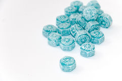 Blue mint candy on the wooden board Stock Photography
