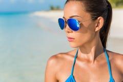 Free Blue Mirror Aviator Sunglasses Sexy Woman Beauty. Beach Bikini Asian Model Wearing Fashion Eyewear Trendy Mirrored Royalty Free Stock Photo - 172602645