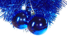 Blue mirror balls - cristmas tree decorations. Two blue mirror balls isolated - cristmas tree decorations Royalty Free Stock Photos