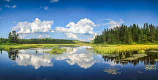 Blue mirror lake reflections of clouds and landscape. Ontario, Canada. Royalty Free Stock Photography
