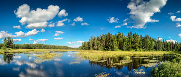 Blue mirror lake reflections of clouds and landscape. Ontario, Canada. Stock Image